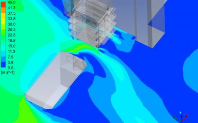 Symulacja CFD opływu wiatru wokół reaktora SCR