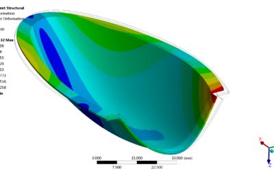 Modelowanie i obliczenia deformacji elementu kompozytowego utwardzanego termicznie
